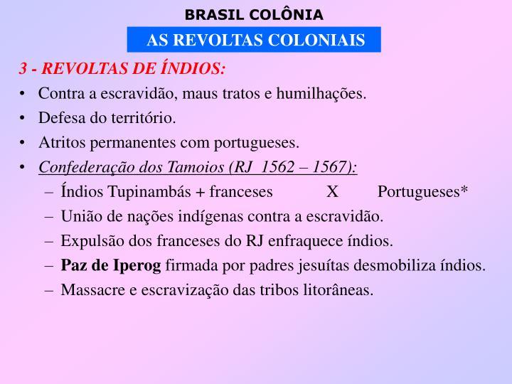 3 - REVOLTAS DE ÍNDIOS: