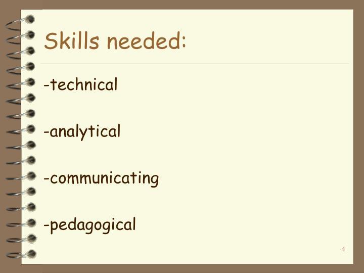 Skills needed: