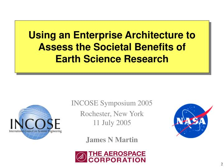 Using an enterprise architecture to assess the societal benefits of earth science research