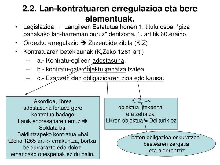 2.2. Lan-kontratuaren erregulazioa eta bere elementuak.
