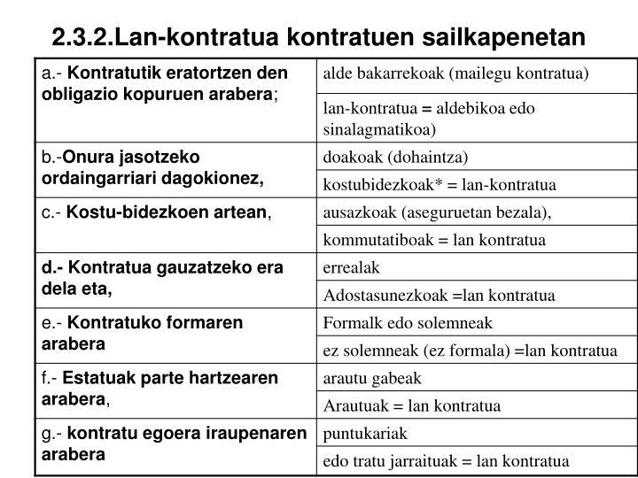 2.3.2.Lan-kontratua kontratuen sailkapenetan