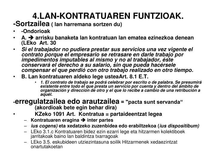 4.LAN-KONTRATUAREN FUNTZIOAK.