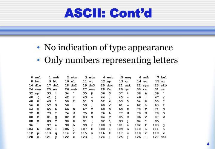 ASCII: Cont'd