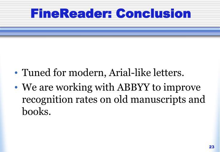 FineReader: Conclusion