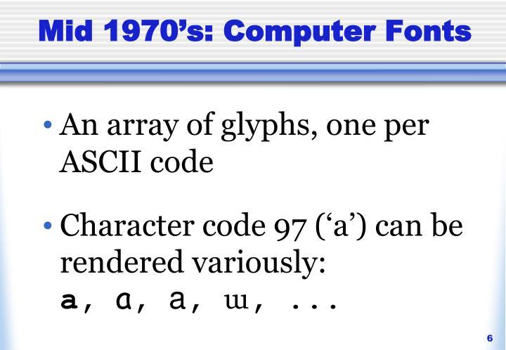 Mid 1970's: Computer Fonts