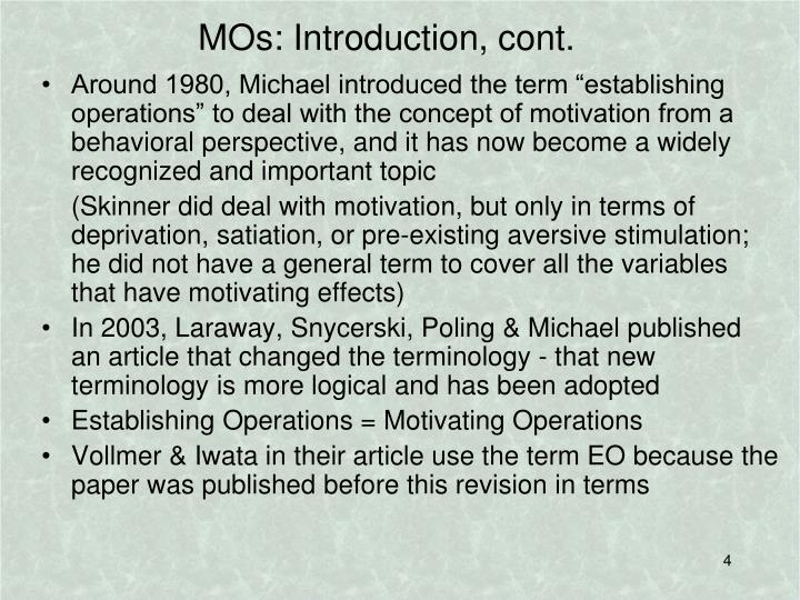 MOs: Introduction, cont.
