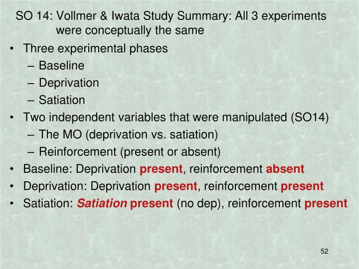SO 14: Vollmer & Iwata Study Summary: All 3 experiments were conceptually the same