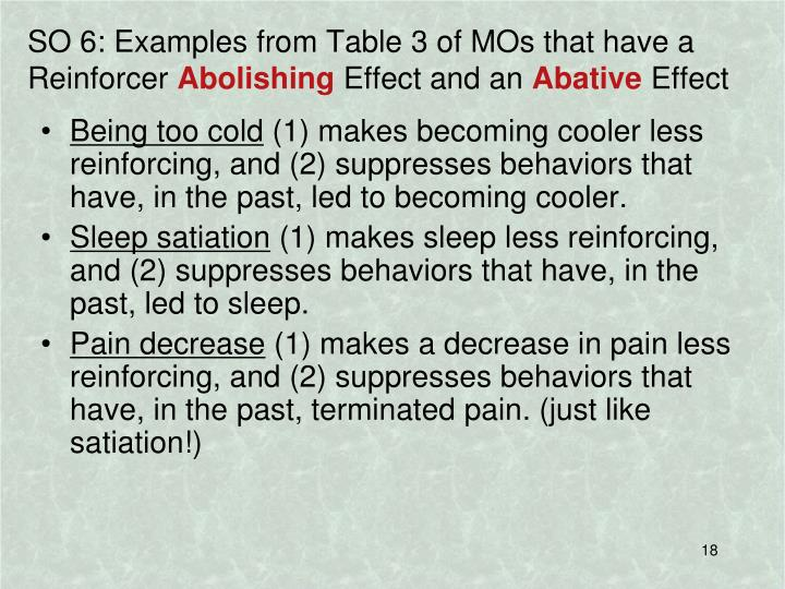 SO 6: Examples from Table 3 of MOs that have a Reinforcer