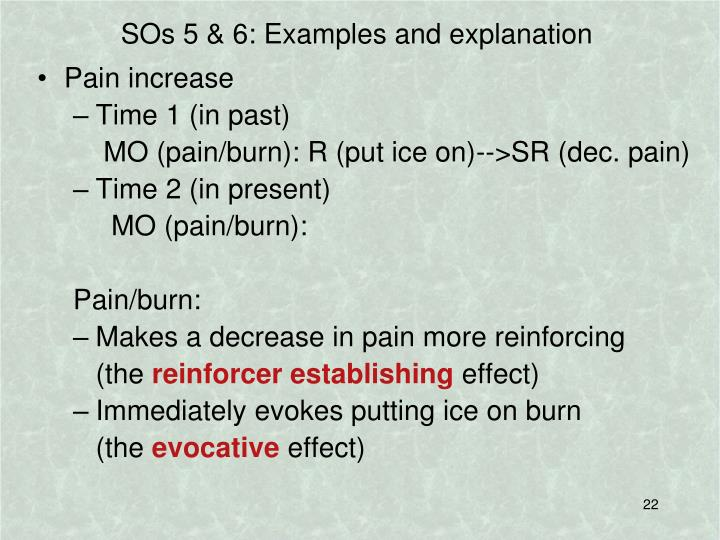 SOs 5 & 6: Examples and explanation