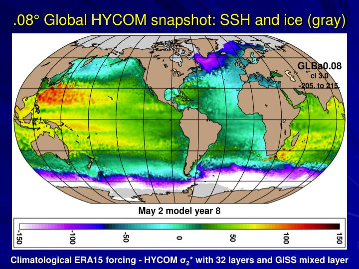 .08° Global HYCOM snapshot: SSH and ice (gray)