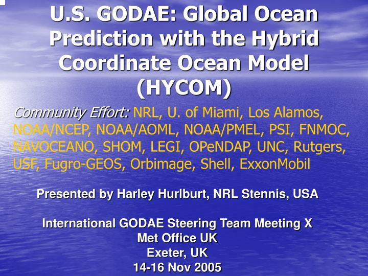 U s godae global ocean prediction with the hybrid coordinate ocean model hycom