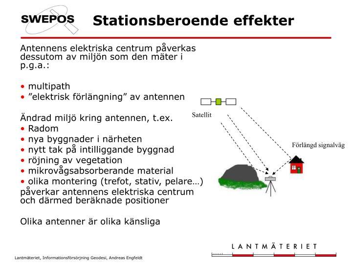 Antennens elektriska centrum påverkas dessutom av miljön som den mäter i p.g.a.: