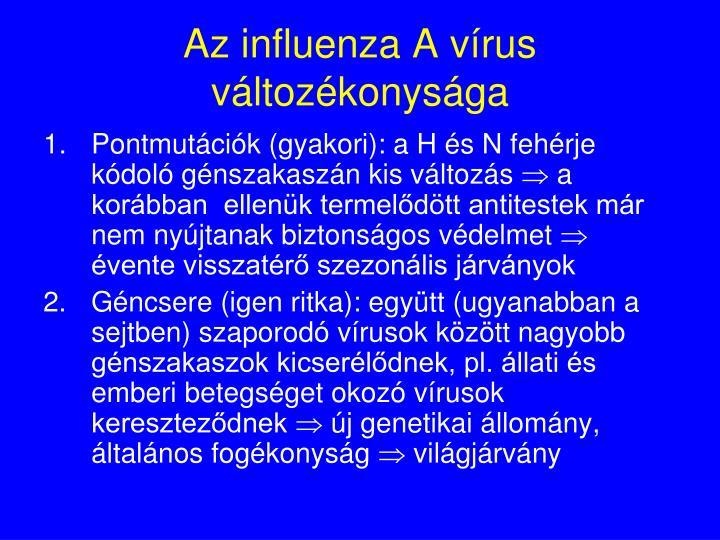 Az influenza A vírus változékonysága
