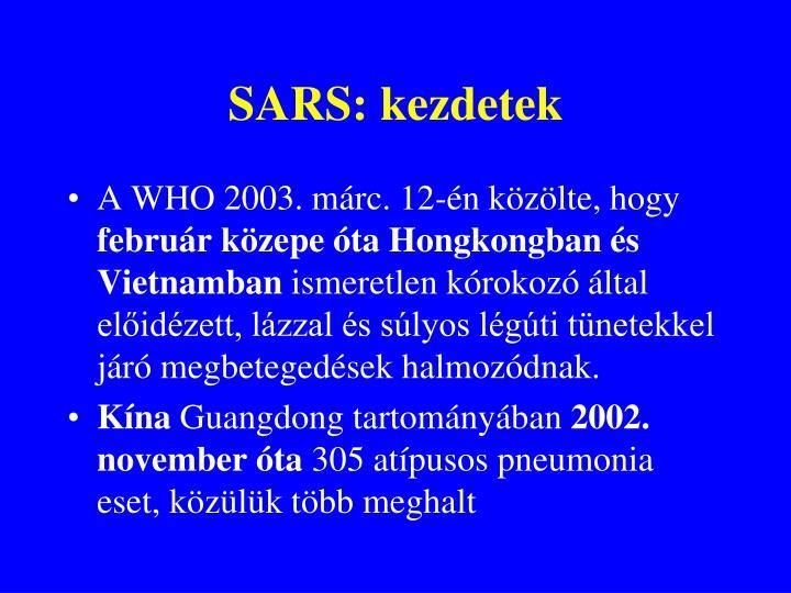 SARS: kezdetek