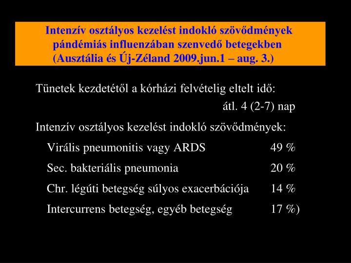 Intenzív osztályos kezelést indokló szövődmények