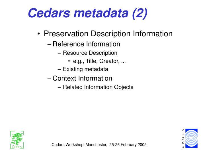 Cedars metadata (2)
