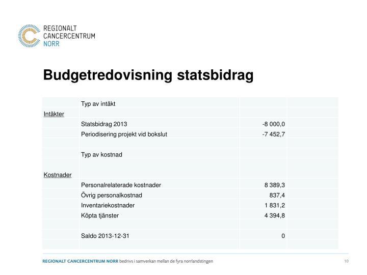 Budgetredovisning statsbidrag