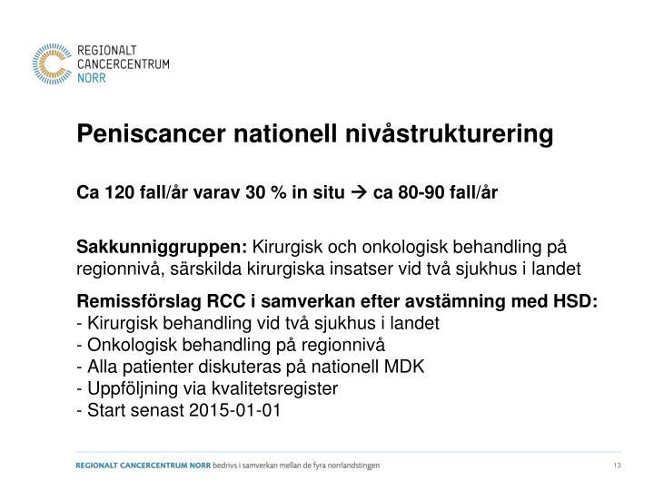 Peniscancer nationell nivåstrukturering