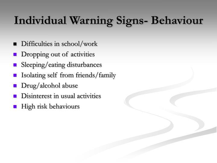 Individual Warning Signs- Behaviour