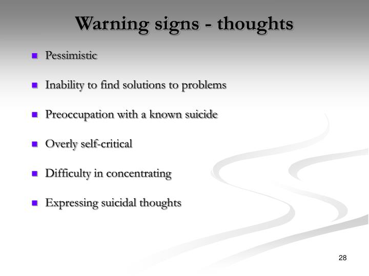 Warning signs - thoughts