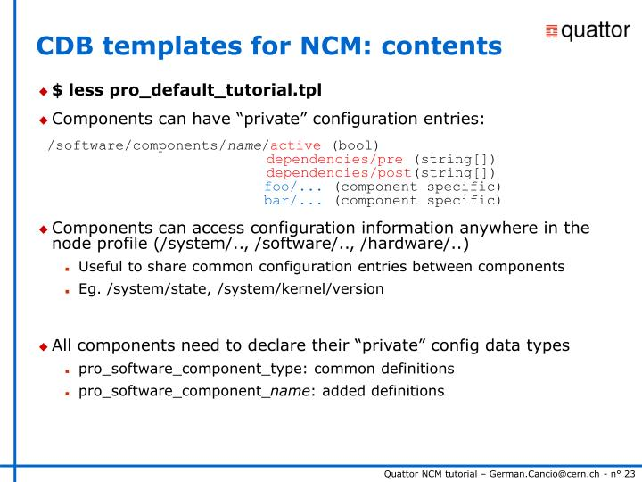 CDB templates for NCM: contents