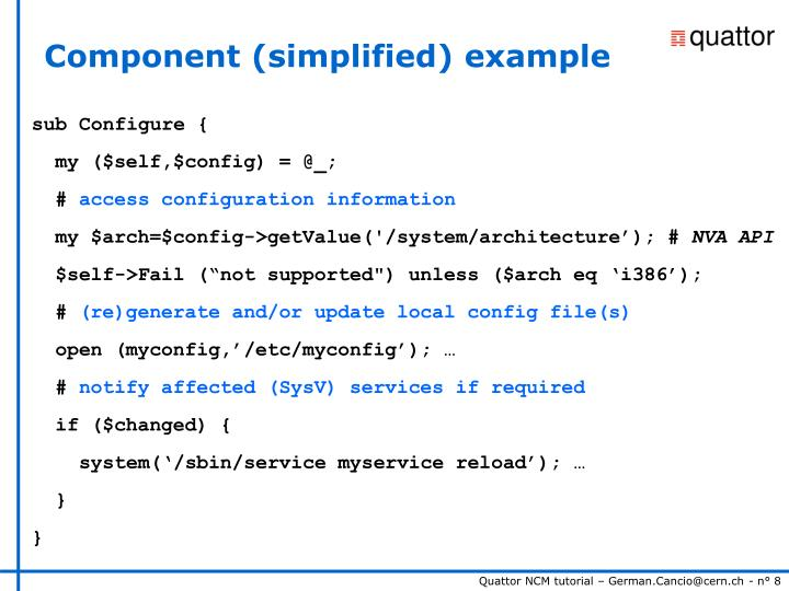 Component (simplified) example