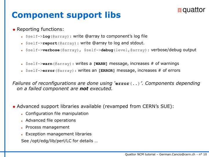 Component support libs