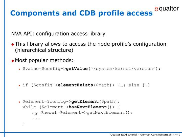 Components and CDB profile access