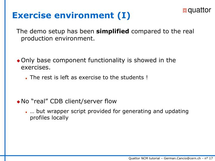 Exercise environment (I)
