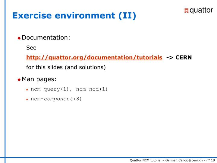Exercise environment (II)