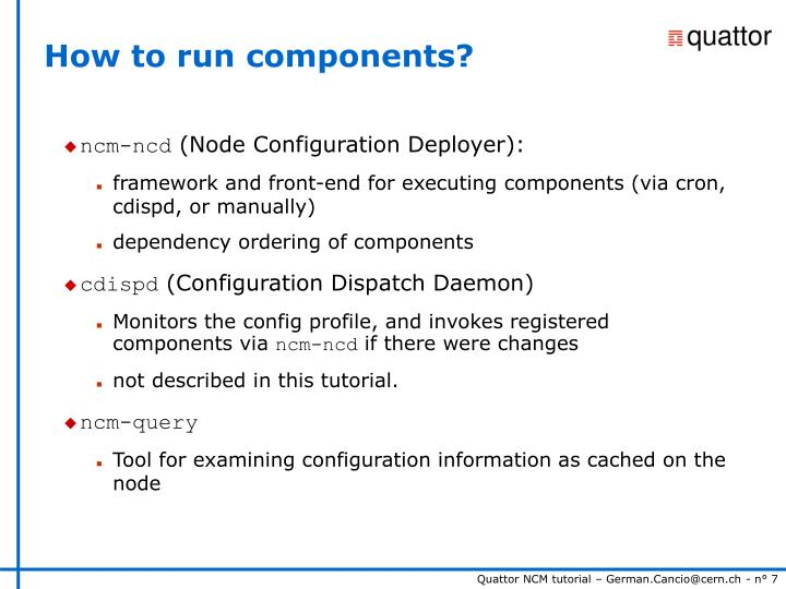 How to run components?