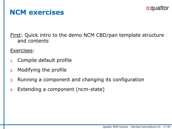 NCM exercises