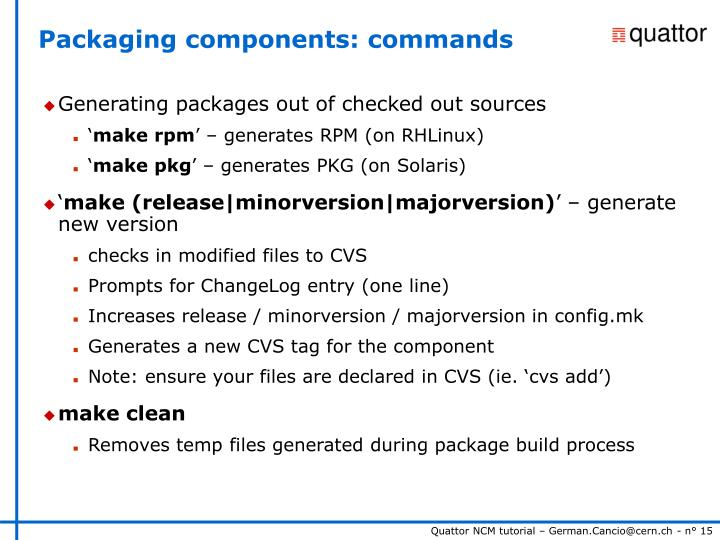 Packaging components: commands