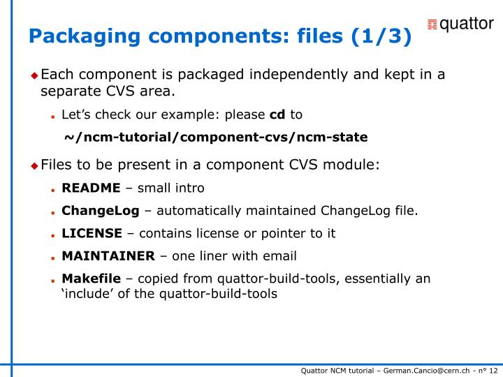Packaging components: files (1/3)