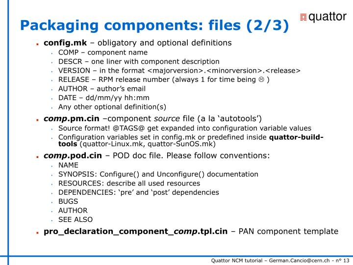 Packaging components: files (2/3)