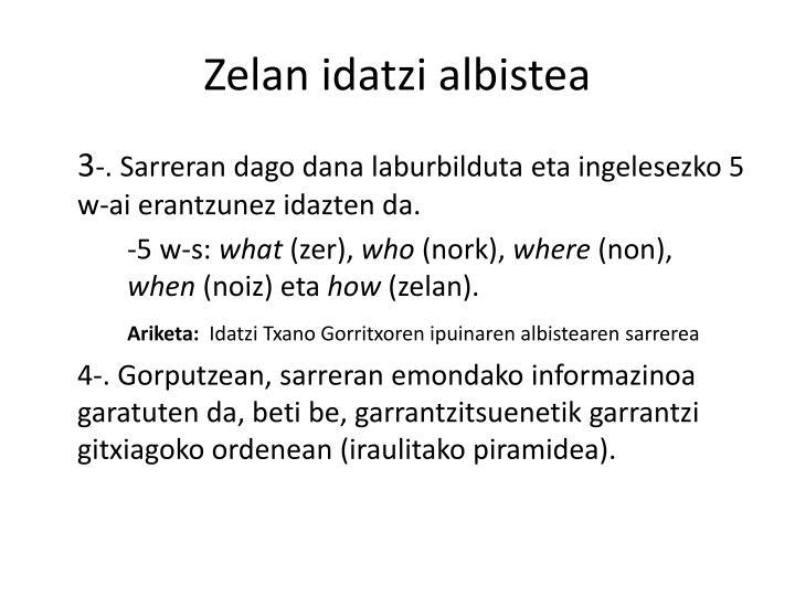 Zelan idatzi albistea
