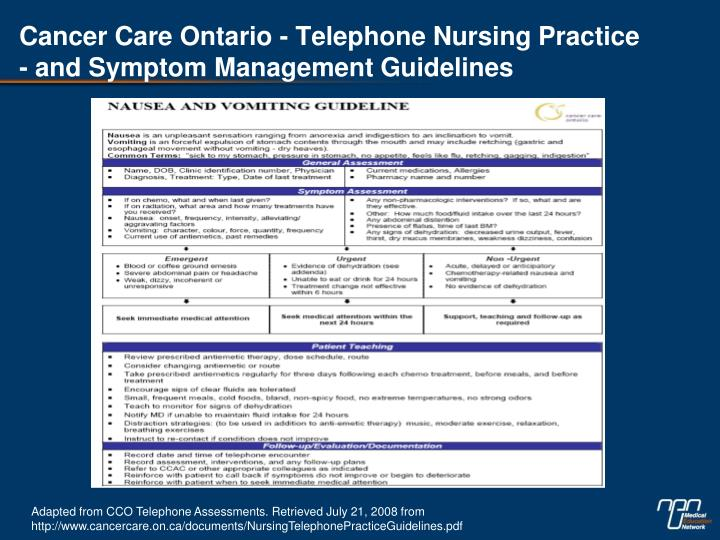 Cancer Care Ontario - Telephone Nursing Practice - and Symptom Management Guidelines