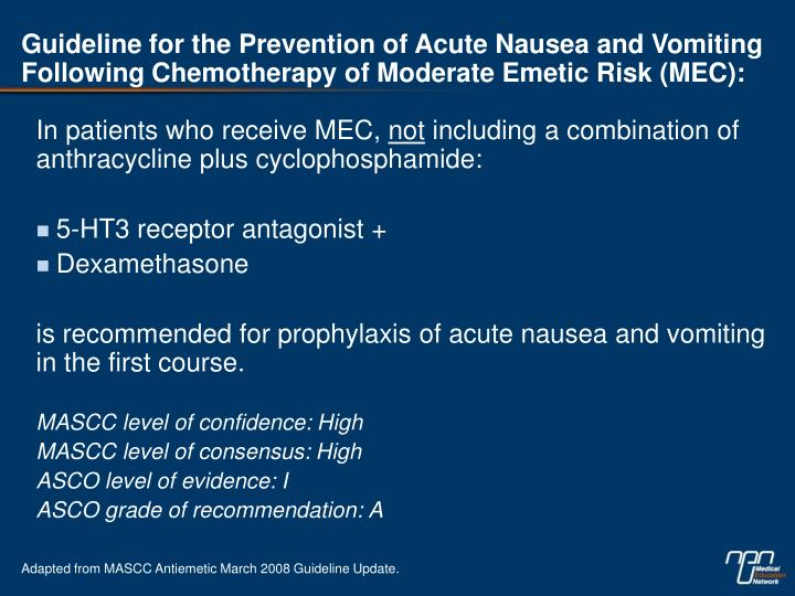 Guideline for the Prevention of Acute Nausea and Vomiting Following Chemotherapy of Moderate Emetic Risk (MEC):