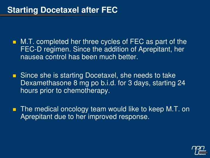 Starting Docetaxel after FEC