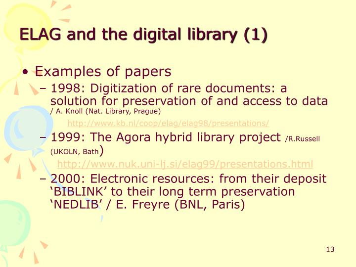 ELAG and the digital library (1)