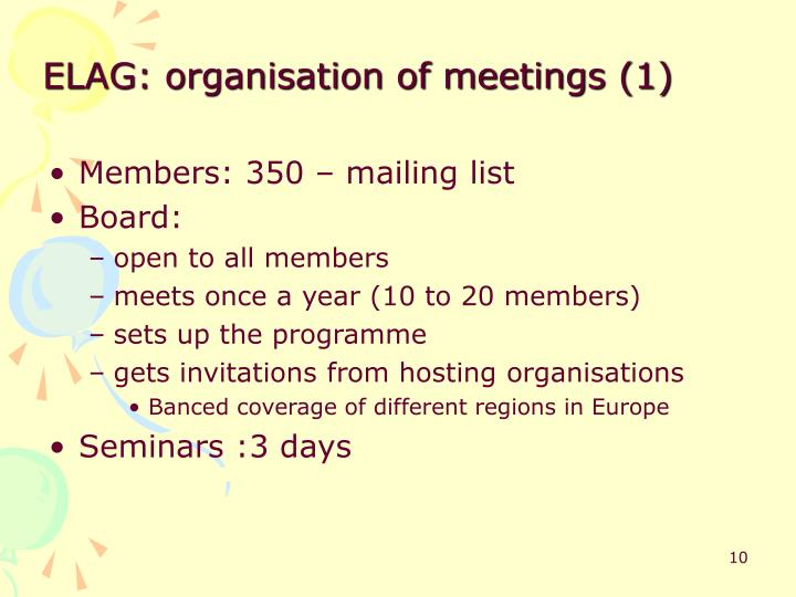 ELAG: organisation of meetings (1)