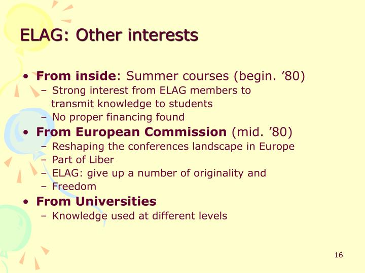 ELAG: Other interests