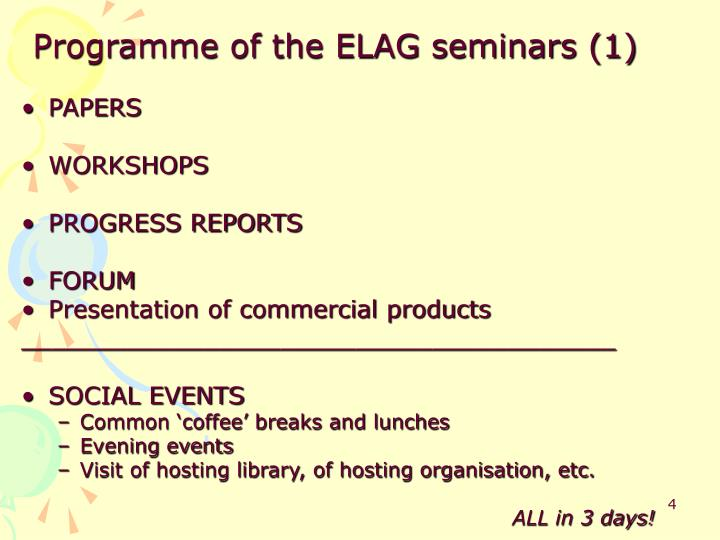 Programme of the ELAG seminars (1)
