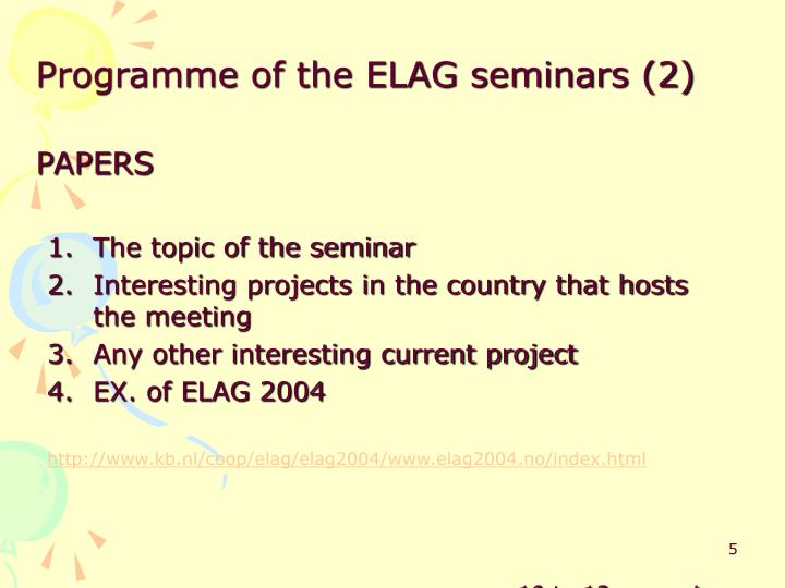 Programme of the ELAG seminars (2)