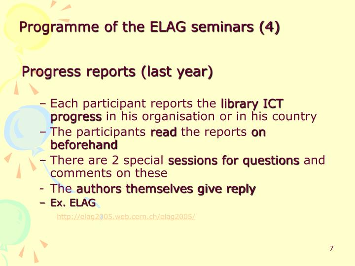 Programme of the ELAG seminars (4)