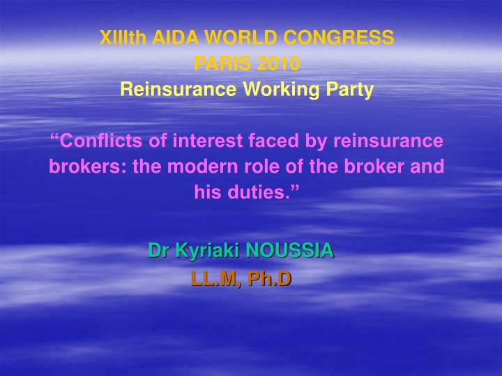 XIIIth AIDA WORLD CONGRESS
