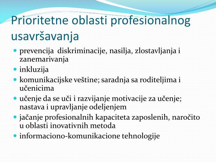 Prioritetne oblasti profesionalnog usavršavanja