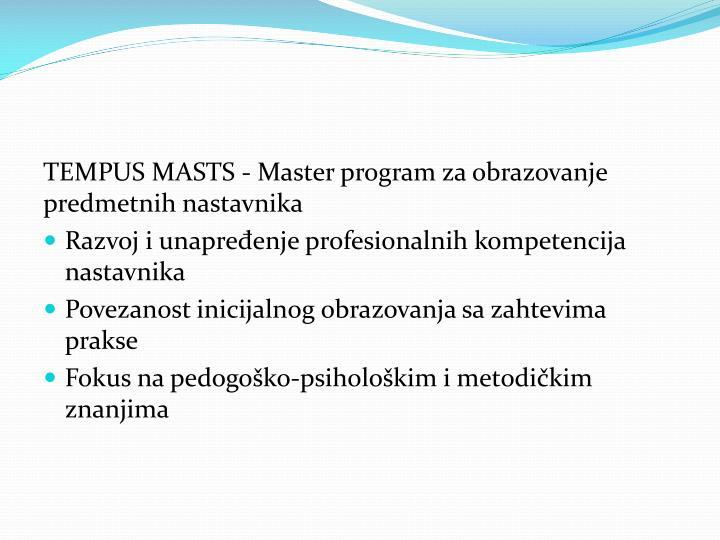 TEMPUS MASTS - Master program za obrazovanje predmetnih nastavnika