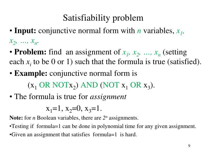 Satisfiability problem