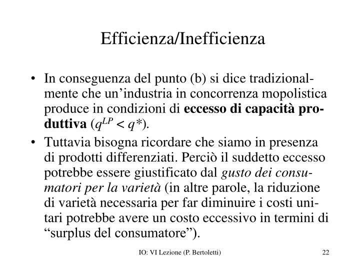 Efficienza/Inefficienza